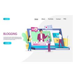 blogging website landing page design vector image