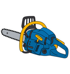 blue and yellow chainsaw vector image