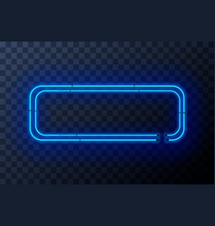 blue neon rectangle frame template on transparent vector image