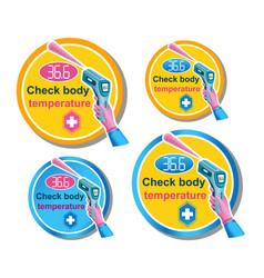 body temperature check laser thermometer icon vector image