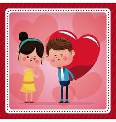 Boy big red haerts girl funny pink hearts vector