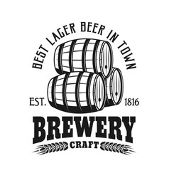 brewery emblem with barrels isolated vector image