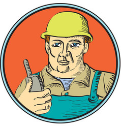 Builder Carpenter Holding Radio Phone Circle Retro vector