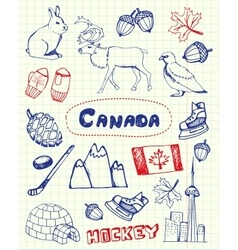 Canadian Symbols Pen Drawn Doodles Set vector