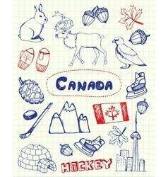 Canadian Symbols Pen Drawn Doodles Set vector