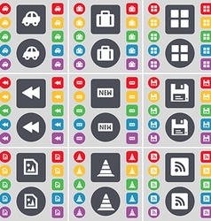Car Suitcase Apps Rewind New Floppy Media file vector
