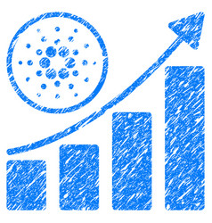 Cardano growth up chart icon grunge watermark vector