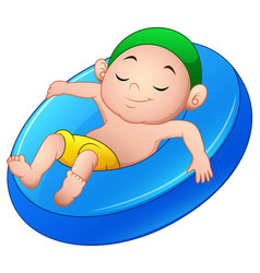 Cartoon boy relaxing above an inflatable ring vector