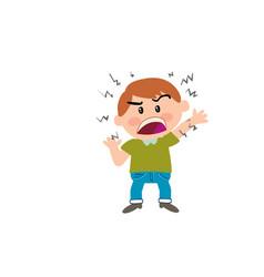 Cartoon character boy angry vector