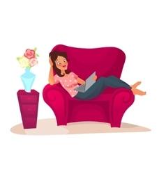 cartoon character woman relaxing vector image