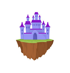 cartoon purple stone island castle in retro style vector image