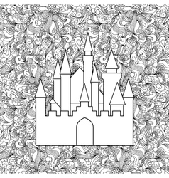 Castle on seamless doodle background vector