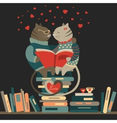Cats in love reading a book vector