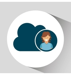 Character girl cloud social media concept vector