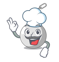 Chef wrecking ball hanging from chain cartoon vector