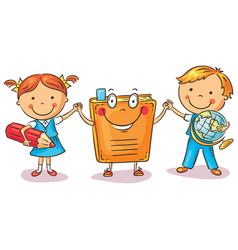 children holding hands with a book vector image