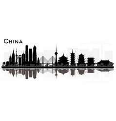 China city skyline black and white silhouette vector