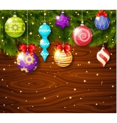 Christmas Baubles On Wood Board vector image