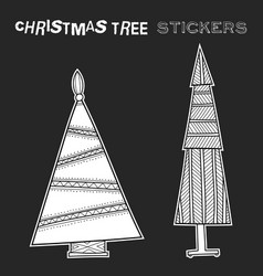 Christmas decorative trees black and white vector