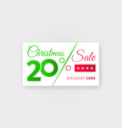 Christmas sale 20 percent discount coupon vector