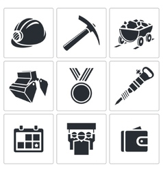 Coal industry icon collection vector