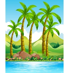 Coconut trees by the ocean vector