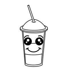 Coffee shake with straw kawaii character vector