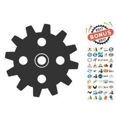 Cogwheel Icon With 2017 Year Bonus Symbols vector image