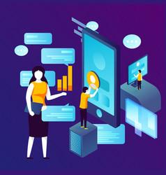 concept - social network profile management vector image