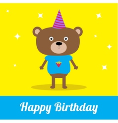 Cute cartoon bear with hat happy birthday party ca vector
