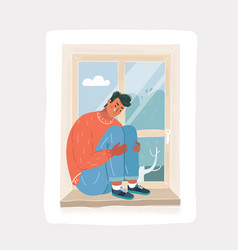 Depressed crying man sitting at window alone vector