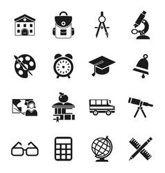 digital black school icons vector image