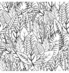 doodle leaves seamless pattern whimsical plants vector image