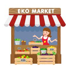 Eko market grocery kiosk flat vector