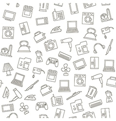 Electronics pattern black icons vector image