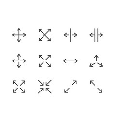 Expand arrows minimal line icon vector