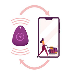 Female character pushing shopping trolley with vector