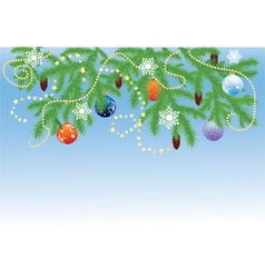 fir branches with balls vector image