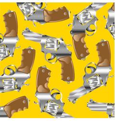 Firearm revolver on yellow vector