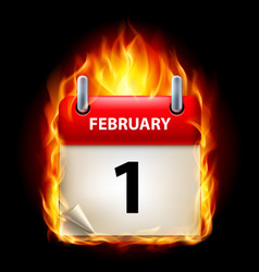 First february in calendar burning icon on black vector