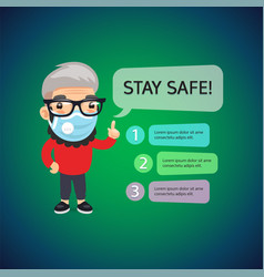 flat cartoon man stay safe banner vector image