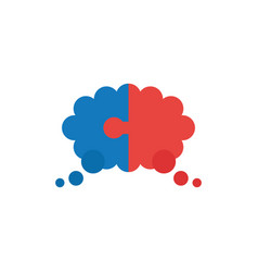 Flat design concept of two pieces puzzle thought vector
