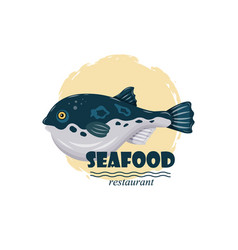 Flat fugu pufferfish seafood restaurant label with vector