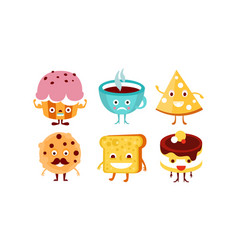 flat set of funny food and drink characters vector image