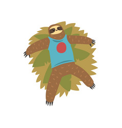 Funny sloth lying on the grass lazy exotic vector