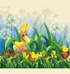 Garden scene with duck and ducklings vector