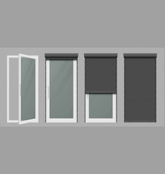 glass door or window with white rolling shutter vector image