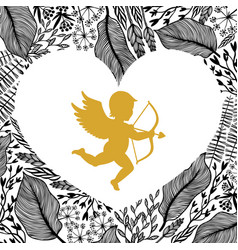 gold cupid with arrow and bow floral frame in vector image
