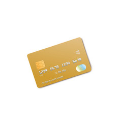 golden credit card mockup isolated on white vector image