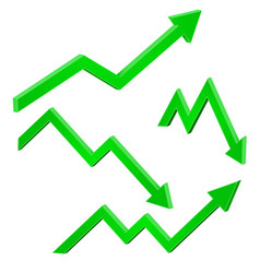 Green financial up and down moving arrows rising vector